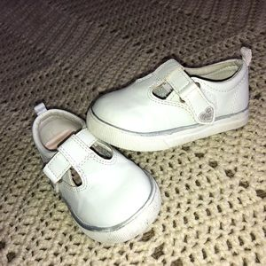 Size 5 white Velcro shoes